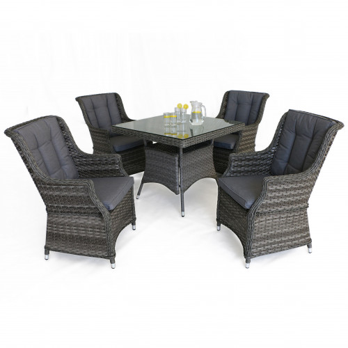 Victoria 4 Seat Square Dining Set with Square Chairs