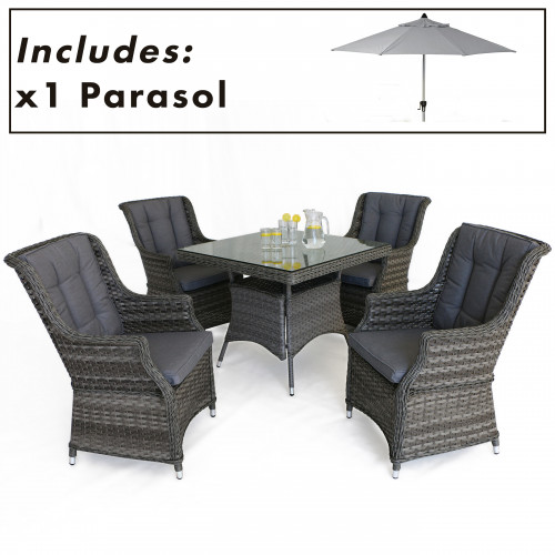 Victoria 4 Seat Square Dining Set with Square Chairs and Parasol
