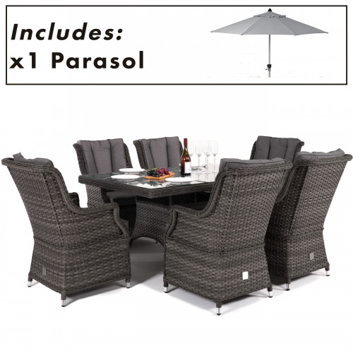 Victoria 6 Seat Rectangle Dining Set with Square Chairs and Parasol