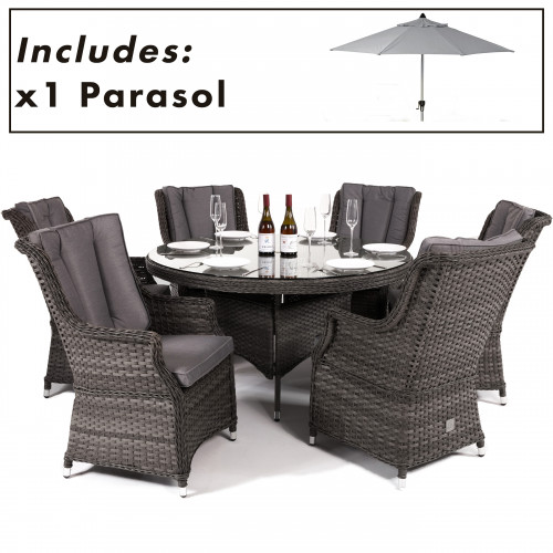 Victoria 6 Seat Round Dining Set with Square Chairs and Parasol