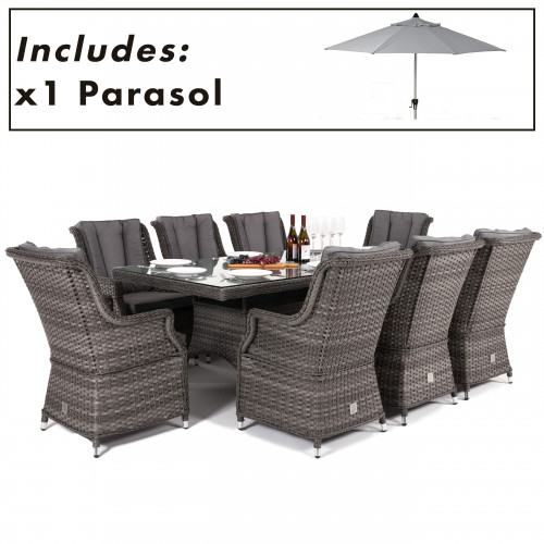 Victoria 8 Seat Rectangle Dining Set with Square Chairs and Parasol