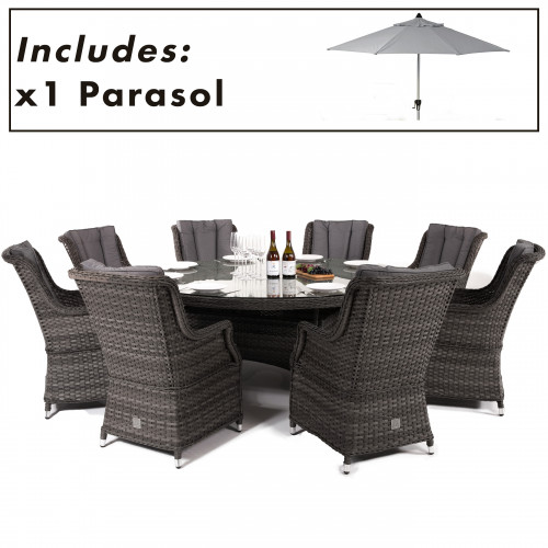Victoria 8 Seat Round Dining Set with Square Chairs and Parasol