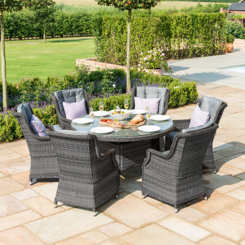 Victoria 6 Seat Round Dining Set with Square Chairs