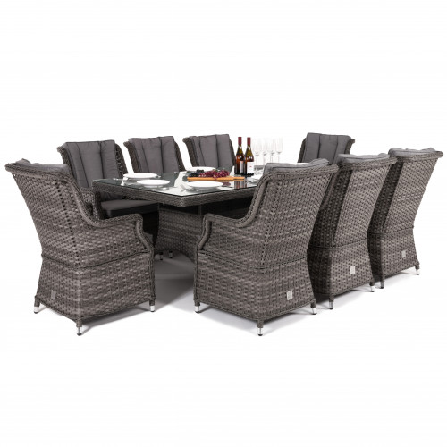 Victoria 8 Seat Rectangle Dining Set with Square Chairs