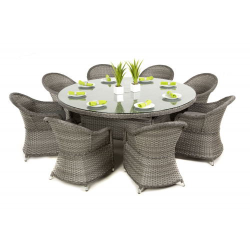 Victoria 8 Seat Round Dining Set with Rounded Chair