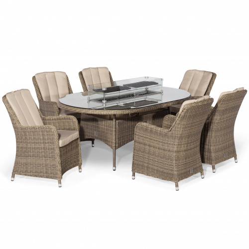 Winchester 6 Seat Oval Fire Pit Dining Set with Venice Chairs