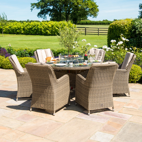 Winchester 6 Seat Round Fire Pit Dining Set with Venice Chairs and Lazy Susan