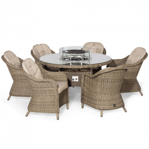 Winchester 6 Seat Round Fire Pit Dining Set with Heritage Chairs and Lazy Susan