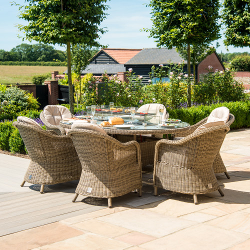 Winchester 6 Seat Oval Fire Pit Dining Set with Heritage Chairs