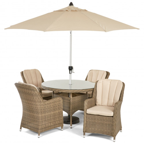 Winchester 4 Seat Round Dining Set with Venice Chairs and Parasol