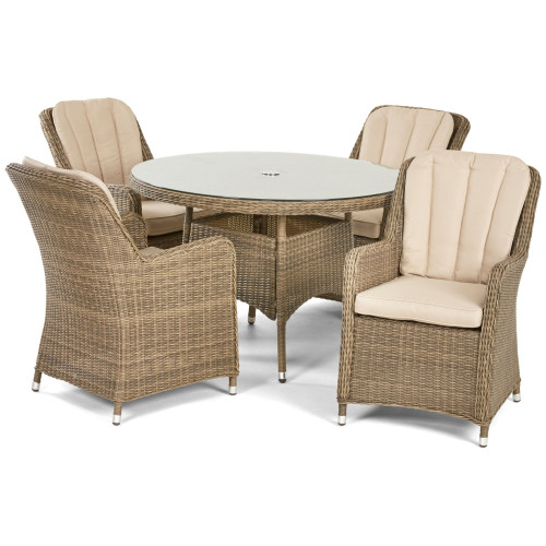 Winchester 4 Seat Round Dining Set with Venice Chairs