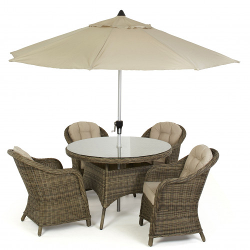 Winchester 4 Seat Round Dining Set with Heritage Chairs and Parasol