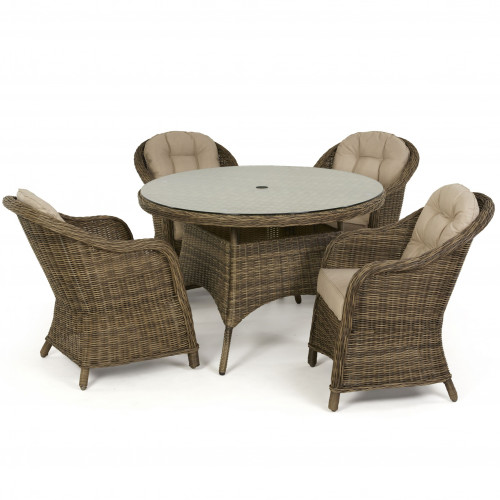 Winchester 4 Seat Round Dining Set with Heritage Chairs