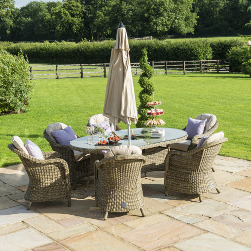 Winchester 6 Seat Oval Ice Bucket D/set with Heritage Chairs with LS and Parasol
