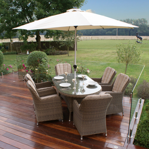 Winchester 6 Seat Oval Dining Set with Venice Chairs and Parasol