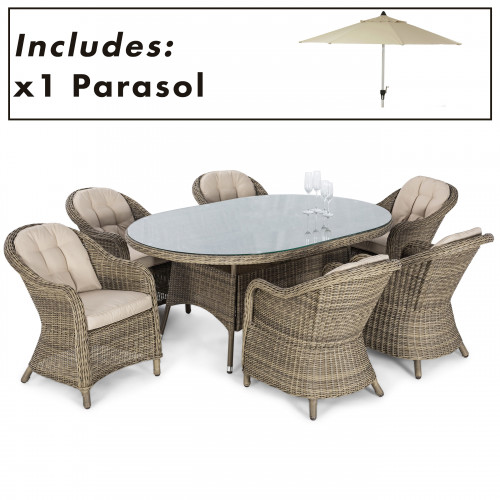 Winchester 6 Seat Oval Dining Set with Heritage Chairs and Parasol