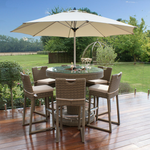 Winchester 6 Seat Round Bar Set with Ice Bucket and Parasol