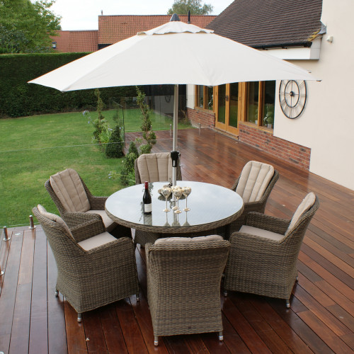 Winchester 6 Seat Round Dining Set with Venice Chairs and Parasol