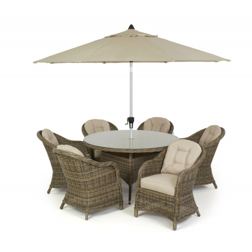 Winchester 6 Seat Round Dining Set with Heritage Chairs and Parasol