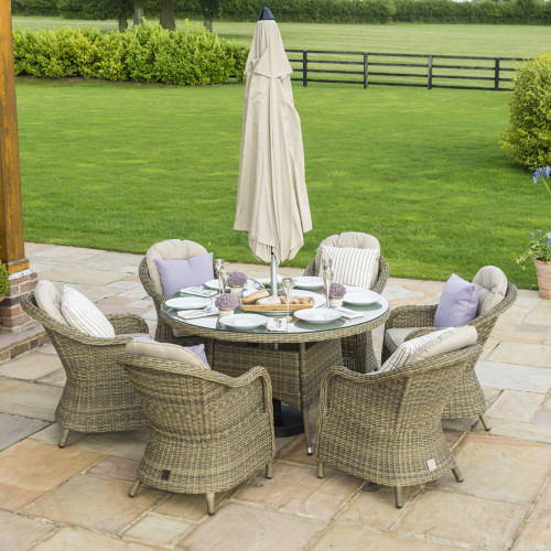 Winchester 6 Seat Round Ice Bucket D/set with Heritage Chairs with LS and Parasol