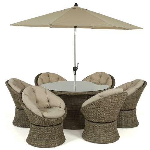 Winchester 6 Seat Swivel Dining Set with Parasol