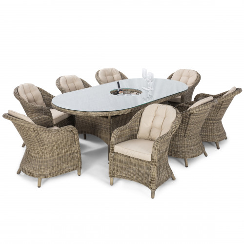 Winchester 8 Seat Oval Dining Set with Heritage Chairs