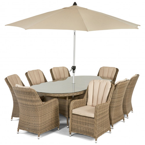 Winchester 8 Seat Oval Dining Set with Venice Chairs and Parasol