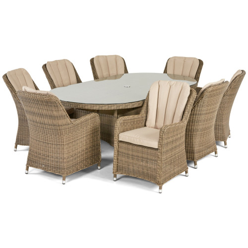 Winchester 8 Seat Oval Dining Set with Venice Chairs