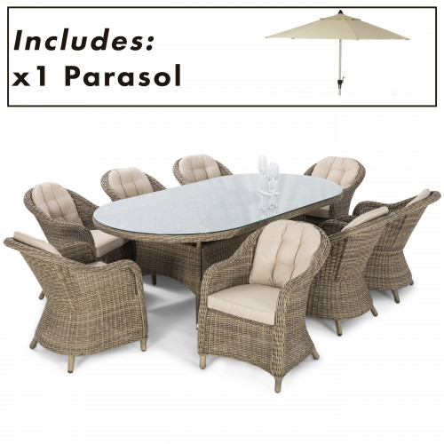 Winchester 8 Seat Oval Dining Set with Heritage Chairs and Parasol