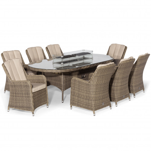 Winchester 8 Seat Oval Fire Pit Dining Set with Venice Chairs