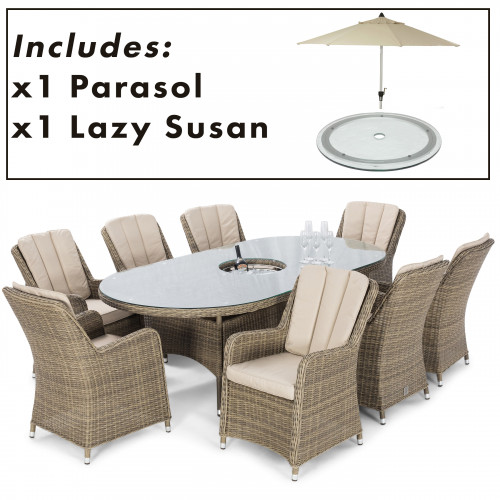 Winchester 8 Seat Oval Ice Bucket D/set with Venice Chairs with LS and Parasol
