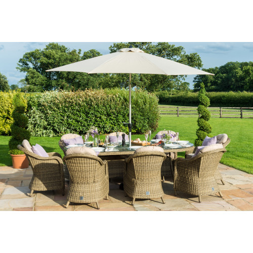 Winchester 8 Seat Oval Ice Bucket D/set with Heritage Chairs with LS and Parasol