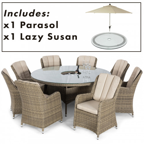 Winchester 8 Seat Round Dining Set with Venice Chairs and Parasol