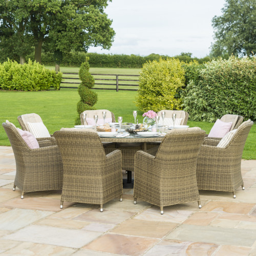 Winchester 8 Seat Round Dining Set with Venice Chairs