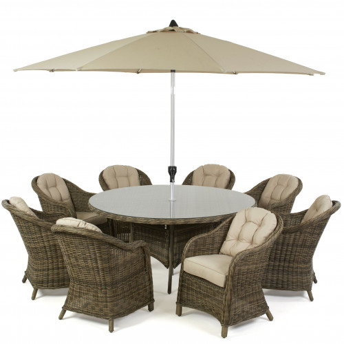 Winchester 8 Seat Round Dining Set with Heritage Chairs and Parasol
