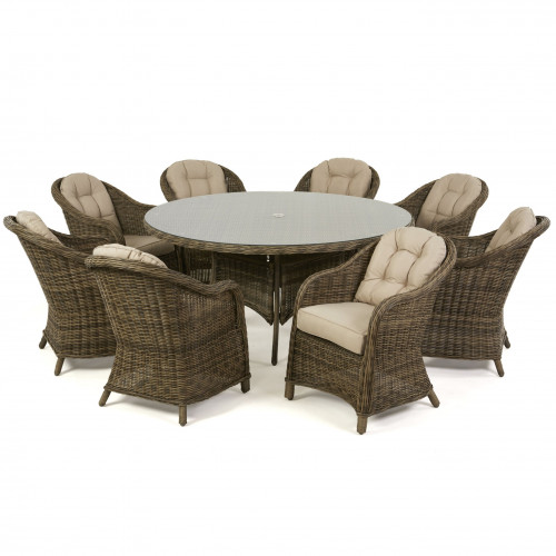 Winchester 8 Seat Round Dining Set with Heritage Chairs