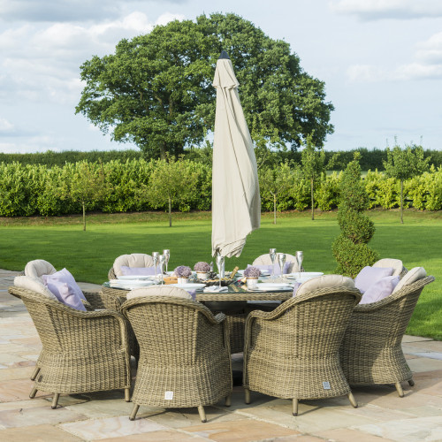 Winchester 8 Seat Round Ice Bucket D/set with Heritage Chairs with LS and Parasol