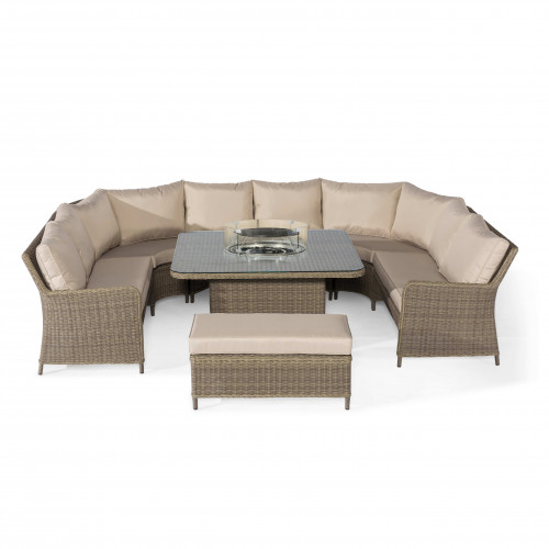 Winchester Royal U Shaped Sofa Set with Fire Pit Table