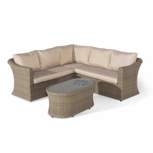 Winchester Small Corner Sofa Set with Fire Pit Coffee Table