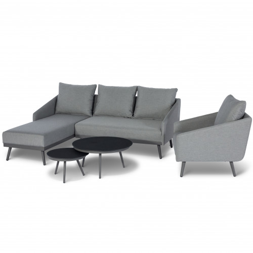 Zeno Chaise Sofa Set / Flanelle