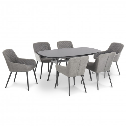 Zest 6 Seat Oval Dining Set / Flanelle