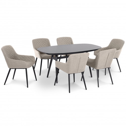 Zest 6 Seat Oval Dining Set / Taupe