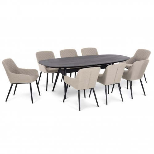 Zest 8 Seat Oval Dining Set / Taupe