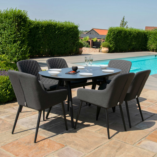Zest 6 Seat Oval Dining Set / Charcoal