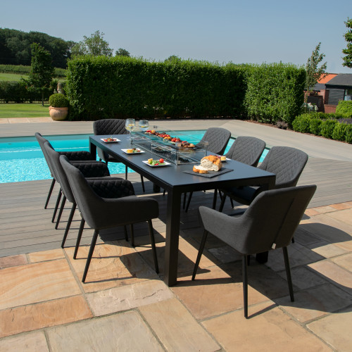 Zest 8 Seat Rectangular Dining Set with Fire Pit Table / Charcoal