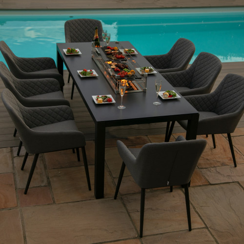 Zest 8 Seat Rectangular Dining Set with Fire Pit Table / Flanelle