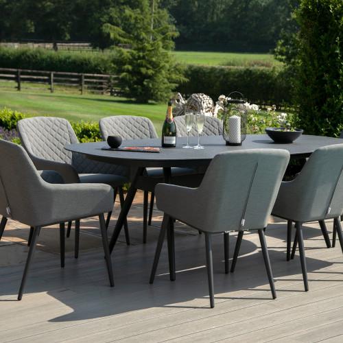 Zest 8 Seat Oval Dining Set / Flanelle