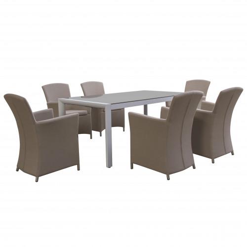 Soul 6 Seat Rectangular Dining Set / Taupe