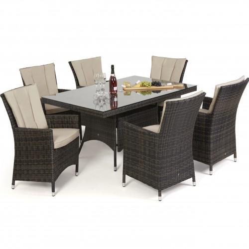 LA 6 Seat Rectangle Dining Set / Brown